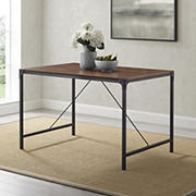 "W. Trends 48"" Industrial Wood Dining Table - Dark Walnut"