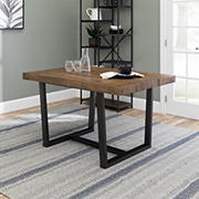 "W. Trends 52"" Distressed Solid Wood Dining Table - Reclaimed Barnwood"