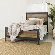 Industrial Queen Size Bed Frame - Rustic Oak