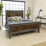 Industrial Queen Size Bed Frame - Brown
