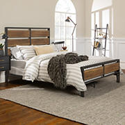 Rustic Farmhouse Queen Size Bed Frame - Rustic Oak
