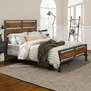 Rustic Farmhouse Queen Size Bed Frame - Brown