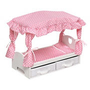 Badger Basket Canopy Doll Bed with Two Storage Baskets - Pink/Polka Dot