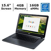 Acer Chromebook 15 CB3-532-108H Laptop, Intel Atom x5-E8000 Quad-Core Processor, 4GB Memory, 16GB Hard Drive
