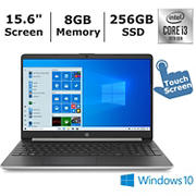 HP 15-dy1074nr touchscreen Laptop, 10th Generation Intel Core i3-1005G1 Processor, 8GB Memory, 256GB SSD, Intel UHD Graphics