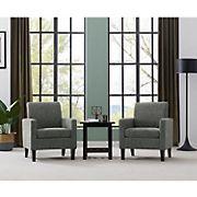 Handy Living Elmer Track Arm Chenille Chair, 2 pk. - Charcoal Gray
