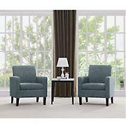 Handy Living Elmer Track Arm Chenille Chair, 2 pk. - Caribbean Blue