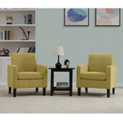 Handy Living Elmer Track Arm Chenille Chair, 2 pk. - Mustard Yellow