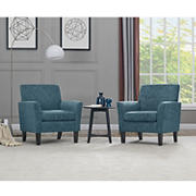 Handy Living Euphrates Flared Arm Herringbone Chair, 2 pk. - Caribbean Blue