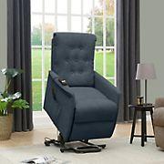 ProLounger Henrietta Power Recline & Lift Velvet Chair - Caribbean Blue