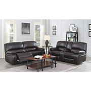 Kian Motions Wilmington 2-Pc. Faux Leather Reclining Set - Brown