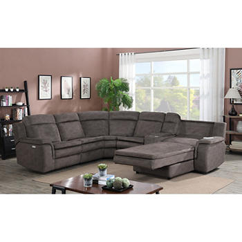 Surprising Kian Motions New Haven 7 Pc Power Chaise Sectional Brown Alphanode Cool Chair Designs And Ideas Alphanodeonline
