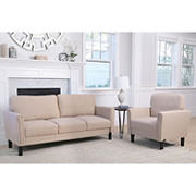 Abbyson Living Lianna 2-Pc. Fabric Sofa and Armchair Set - Beige