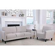 Abbyson Living Lianna 2-Pc. Fabric Sofa and Armchair Set - Gray