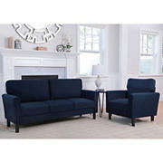 Abbyson Living Lianna 2-Pc. Fabric Sofa and Armchair Set - Navy Blue