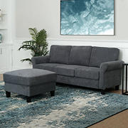 Abbyson Living Marianne 2-Pc. Fabric Sofa and Ottoman Set - Charcoal
