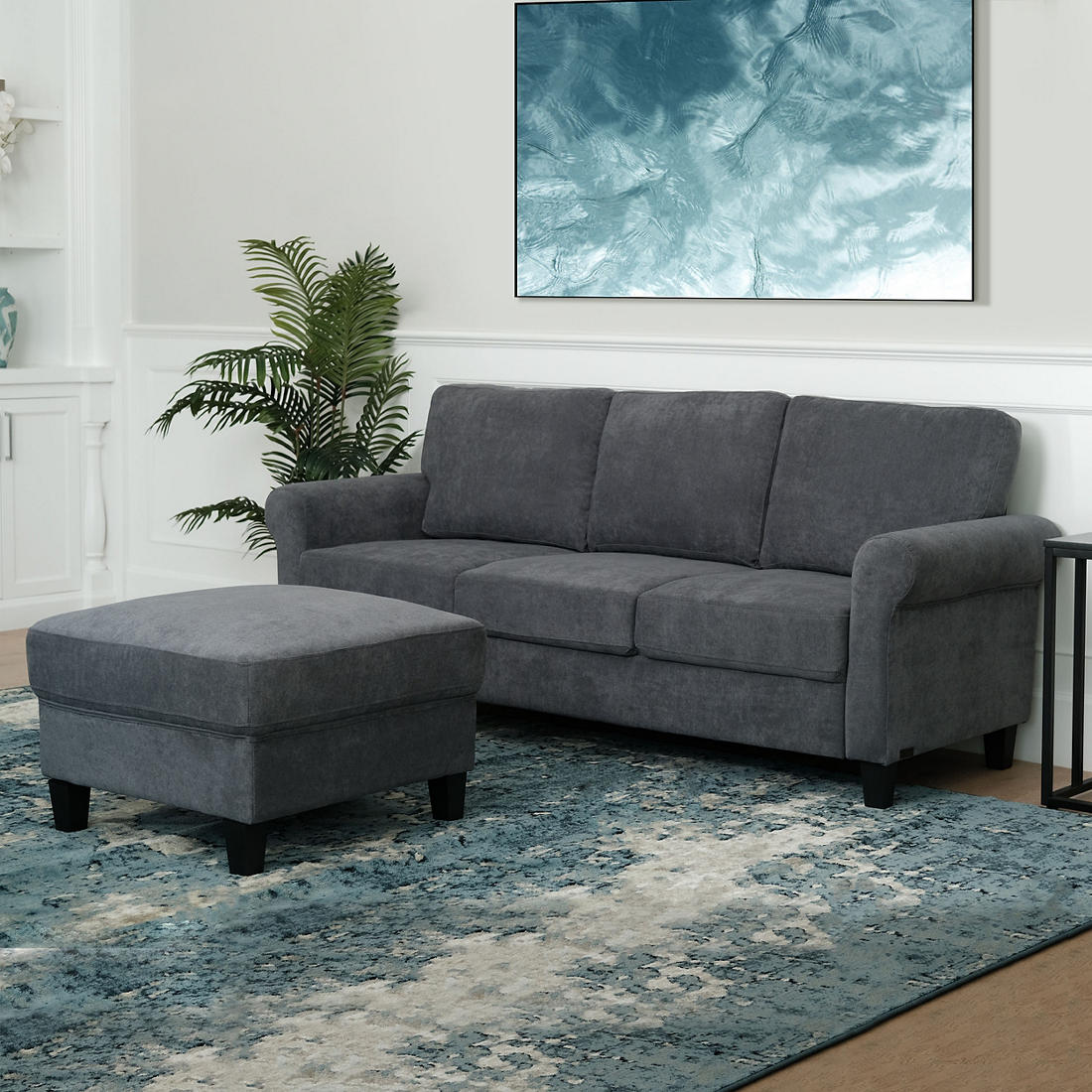 Astounding Abbyson Living Marianne 2 Pc Fabric Sofa And Ottoman Set Charcoal Alphanode Cool Chair Designs And Ideas Alphanodeonline