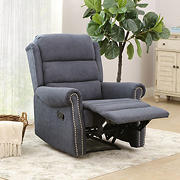Abbyson Living Charlene Fabric Recliner - Navy Blue