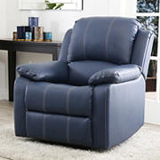 Abbyson Living Mackenzie Leather Recliner - Navy Blue