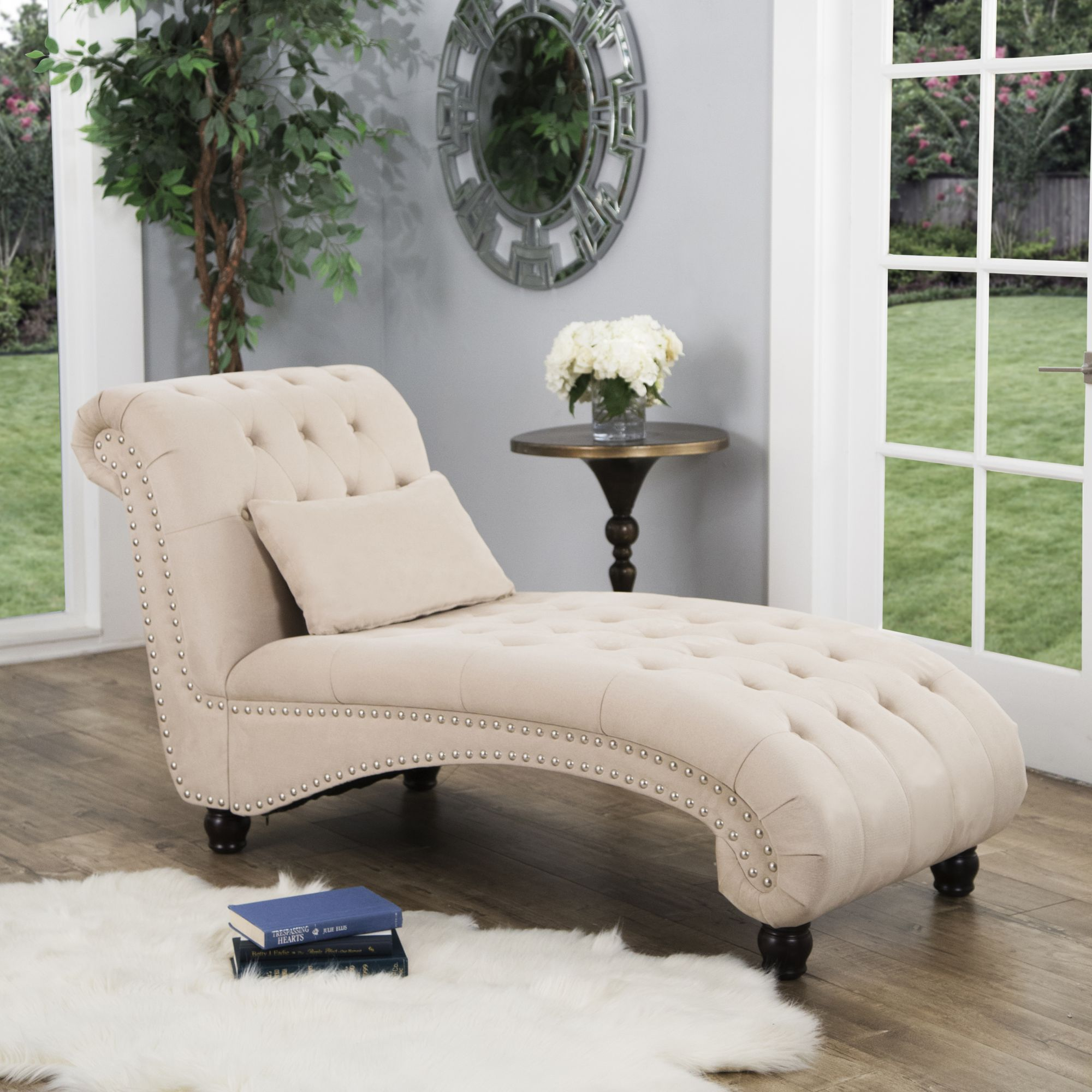 Abbyson Living Cadence Oversized Chaise Lounge Ivory