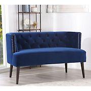 Abbyson Living Finch Velvet Settee - Blue