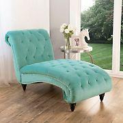 Abbyson Living Daniella Tufted Velvet Chaise Lounge - Aqua