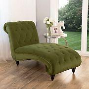 Abbyson Living Daniella Tufted Velvet Chaise Lounge - Olive