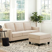 Abbyson Living Madelyn Fabric Sofa & Ottoman Set - Beige
