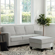 Abbyson Living Madelyn Fabric Sofa & Ottoman Set - Gray