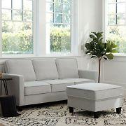 Abbyson Living Madelyn Fabric Sofa & Ottoman Set - Gray