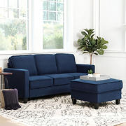 Abbyson Living Madelyn Fabric Sofa & Ottoman Set - Navy Blue