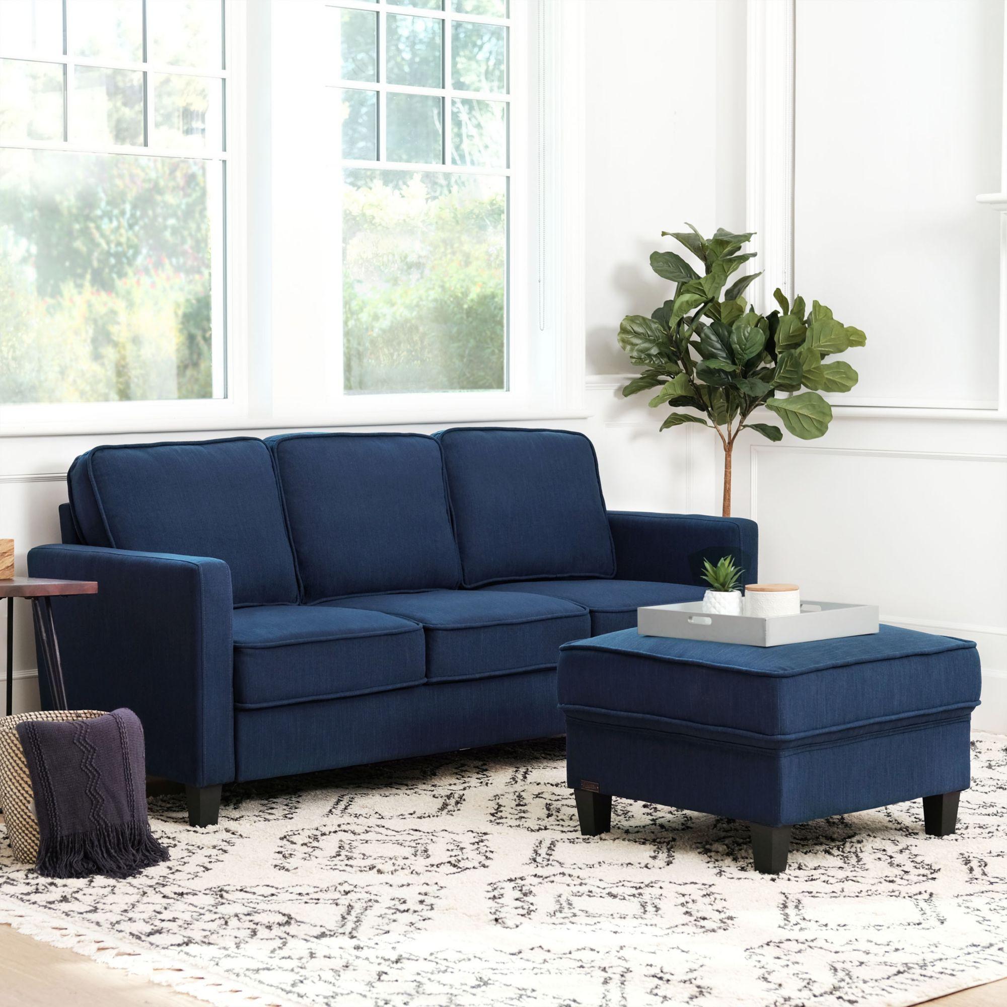 Abbyson Living Madelyn Fabric Sofa Ottoman Set Navy Blue