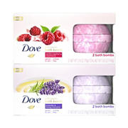 Dove Vanilla Raspberry Creamsicle & Lavender & Honey Macaron Bath Bombs, 4 ct.