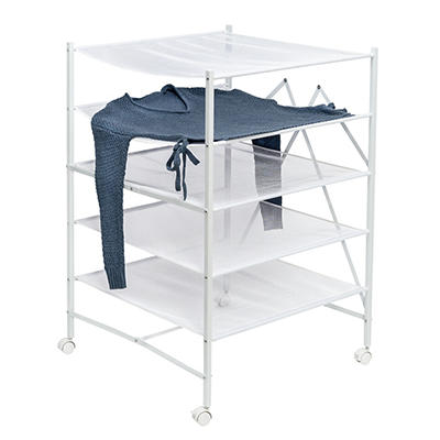 Honey Can Do 5-Tier Collapsible Rolling Drying Rack - White