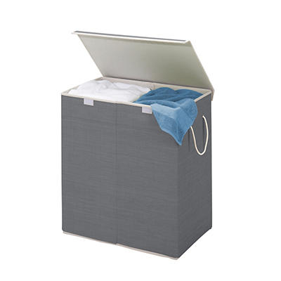 Honey Can Do 2-Compartment Collapsible Sorting Hamper - Gray