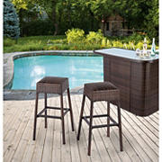 Berkley Jensen Padded Wicker Backless Bar Stool
