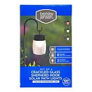 Berkeley Jensen 3-Lumen Solar Color-Holding Shepherd's Hook Pathway Lights, 4 pk. - Crackled Glass