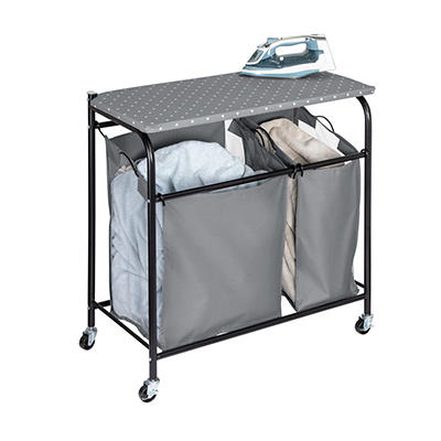 Honey Can Do Double Sorter Hamper with Ironing Board Top - Gray