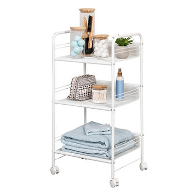 Honey Can Do 3-Shelf Rolling Wire Cart - White