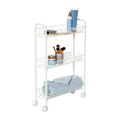 Honey Can Do Slim Rolling Wire Cart with 3 Baskets - White