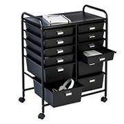 Honey Can Do 12-Drawer Rolling Storage and Craft Cart Organizer - Black