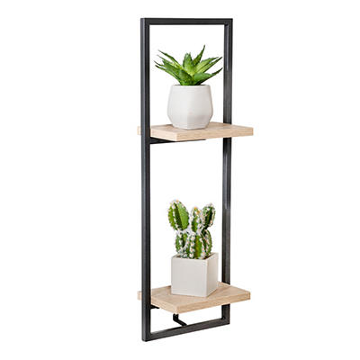 Honey Can Do 2-Tier Vertical Floating Wall Shelf - Charcoal
