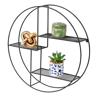 Honey Can Do Rustic Circular Wall Shelf - Black