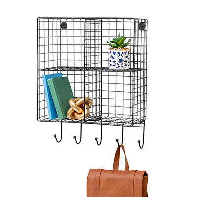Honey Can Do 4-Cubby Wall Shelf With Hooks - Black