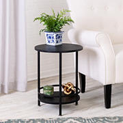 Honey Can Do 2-Tier Round Side Table - Black