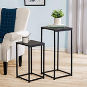 Honey Can Do Square Black Side Tables, 2 pk. - Black