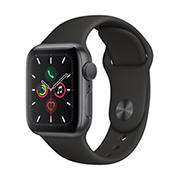 Apple Watch Series 5 GPS with Space Gray Aluminum Case, 44mm - Black Sport Band