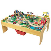 KidKraft Adventure Town Railways Train Set and Table with EZ Kraft Assembly