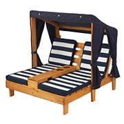 KidKraft Double Chaise Lounge with Canopy and Cupholder