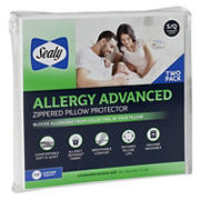 Sealy Allergy Advanced Zippered Pillow Protector, 2 pk.